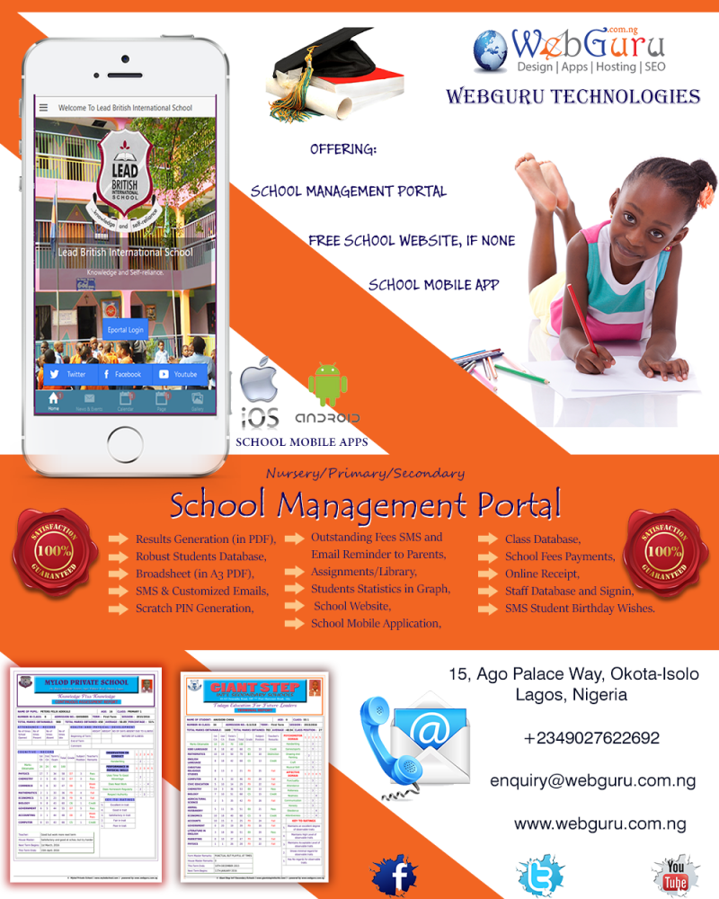 School Management Software in Nigeria Free For Nursery, Primary and Secondary Schools - Abuja, Lagos
